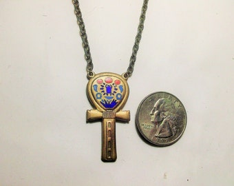 Egyptian Multi-Colored Enamel Cloisant Ankh ~ Goldtone with Red, Blue, and Green