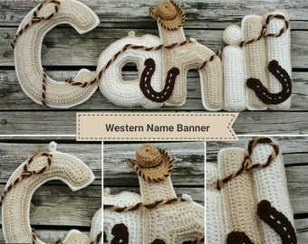Western  Name Banner, Made-to-Order Crochet