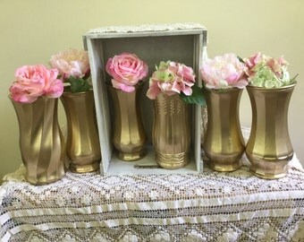 Gold vases, gold wedding decor, Set of 6 CUSTOM gold dipped vintage bouquet vases, gold painted vase, wedding table decor wedding bouquet