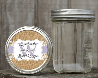 Mason Jar Lid Labels - Glossy Round Sticker Label Tags - Custom Wedding Favors - Choice of Color - Burlap and Lace Monogram Stickers