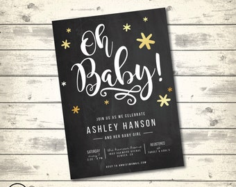 Chalkboard Gold and White Baby Shower Invitation, Gold Stars Baby Shower, Starry Night, Digital Printable