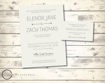 simple cream lds wedding invitation rustic wedding ceremony invitation with temple inserts digital