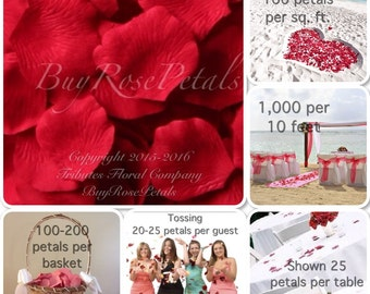 500 Red Rose Petals - Silk  Rose Petals for Weddings, Petal Toss, Flower Girl Baskets