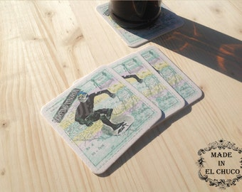 "Lucha Libre Coasters ""Surfing Tiburon"" - Set of 4"