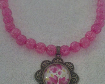 Hot Pink Beaded Antique Gold Glass Dome Flower Pendant Necklace  (#479)