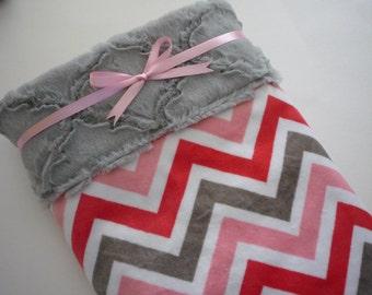Baby Girl Blanket...Minky baby blanket...chevron girl blanket...baby girl bedding...crib blanket...stroller blanket...minke baby blanket