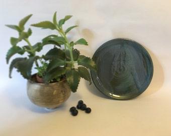 Ceramic Plate / Blue / Sea Green / Handmade Pottery