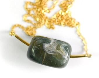 Jade Stone and Bar necklace , minimalist & modern jewelry