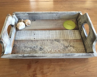 Recycled Wood Pallet Serving Tray Rustic Tray Reclaimed Wood Cottage Chic Repurposed Recycled Wood Tray Made to Order