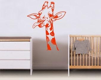 Wall Vinyl Sticker Decals Mural Room Design Pattern Art Giraffe Wild Animal Zoo Flora Nursery mi817