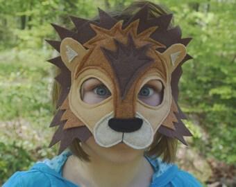 Felt lion mask, tail -  handmade