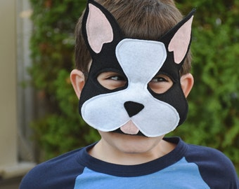Handmade felt dog (Boston Terrier) mask, tail