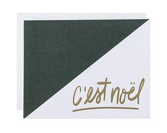 "Letterpress Holiday Box Set, ""C'est Noel"", Hand Lettering, Christmas, Modern, Gold Metallic, Minimal"