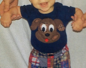 Little Boys Patchwork Shorts and Puppy.Applique Pattern by Little Lambs, sizes 3 to 24 monthd