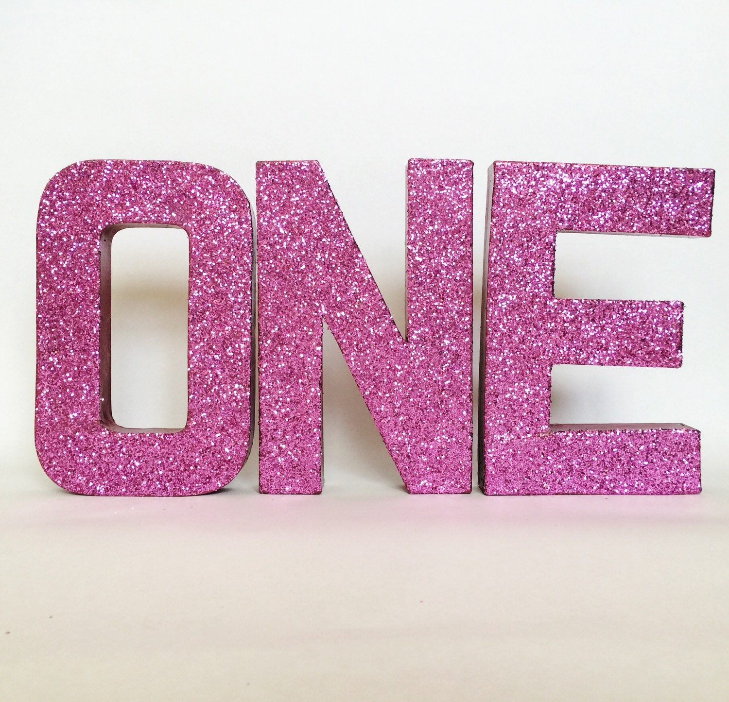 Pink glitter stand up one letter sign first for Pink glitter letters