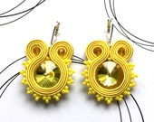 Sunny Yellow Earrings, Handmade Jewelry, Soutache Earrings, Casual Earrings, Dangling Earrings, Birthday Gift For Girl, Soutache Pendientes
