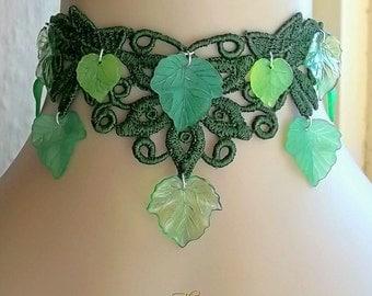 Ivy Leaf Choker, Green Ivy Choker, Green Lace Choker, Woodland Pagan Choker, Elven Choker, Green Leaves Necklace, Tree Spirit, Venetian Lace