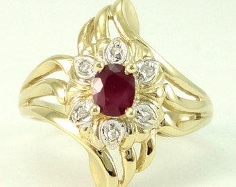 Ruby Ring Vintage Ruby & Diamond 14kt Gold Ring