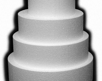 "Round Foam Cake Dummy 3"" THICK x 4"" 5"" 6"" 7"" 8"" 9"" 10"" 12"" DIAMETER"