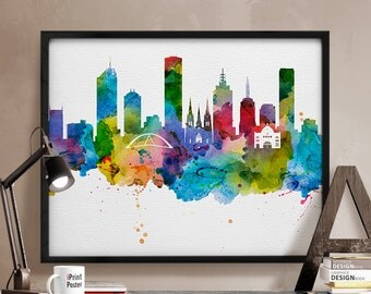 Melbourne, Melbourne print, Melbourne poster, Melbourne skyline, watercolor, travel print, wall art, Australia, home decor, iPrintPoster