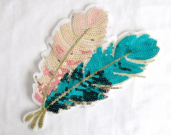 Leaf Patches/Gold Leaf Applique/PINK & GREEN Embellishment/Pink Sequin Patches/Sew On patches/Green Leaf Patches/gold leaf /