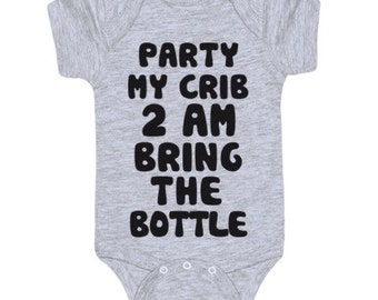 Party at my crib/byob funny baby onesie/ father to be /morher to be