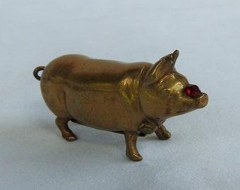 Vintage Antique Victorian Brass Pig Match Holder / Vesta Holder / Match Striker