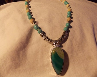 Hand made one of a kind Necklace  Water Drop Agate