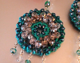 Hoop earrings crochet with turquoise and taupe crystals