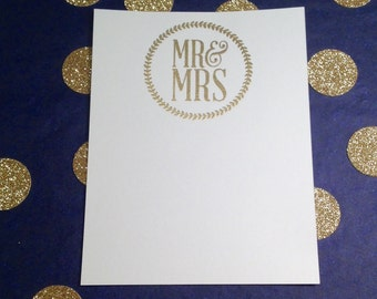 Wedding/Mr and Mrs Thank You/Bridesmaid Notes and Envelopes - Gold and White - Set of 8