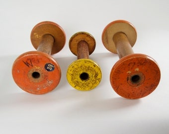 wooden  wauds vintage spools set of 3  orange yellow orange industrial colorful funky wooden industrial craft supply