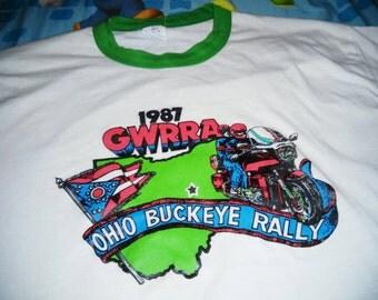 Vintage 1987 OHIO MOTORCYCLE RUN ringer tee shirt indie style