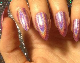 Pink Holo Nails -CHOOSE YOUR SHAPE- Set of 20 - false nails, pink nails, fake nails, press on nails, holo nails, glue on finger nails
