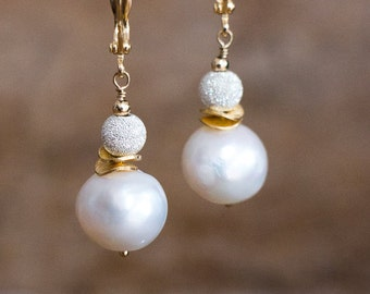 Baroque Pearl Earrings, Sparkly Silver Gold Pearl Drop Earrings, June Birthstone, White Pearl Jewellery, Wedding Jewelry, Leverback Earrings