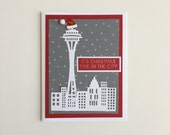 Handmade Christmas Time in the City Seattle Christmas Cards | Buy Any 4 Cards, Get 1 FREE!