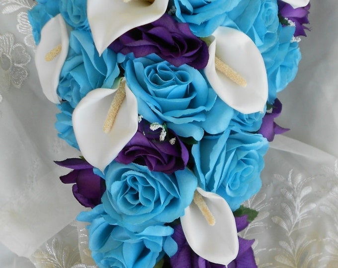 Royal purple and turquoise blue large wedding set callas and roses , cascade bouquet, swags, bridal table centerpieces,