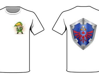Legend Of Zelda Shield and Link Shirt(S,M,L,XLRG)