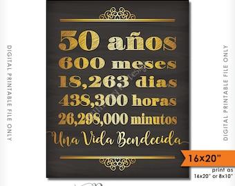 """50 años de matrimonio 50 Aniversario de regalos, casado 50, Una vida bendecida, 16x20"""" Instant Download Digital Printable Chalkboard Sign"""