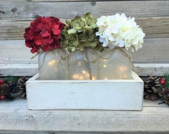 Large wood box with mason jars mantle decor table decor for Christmas table decorations using mason jars