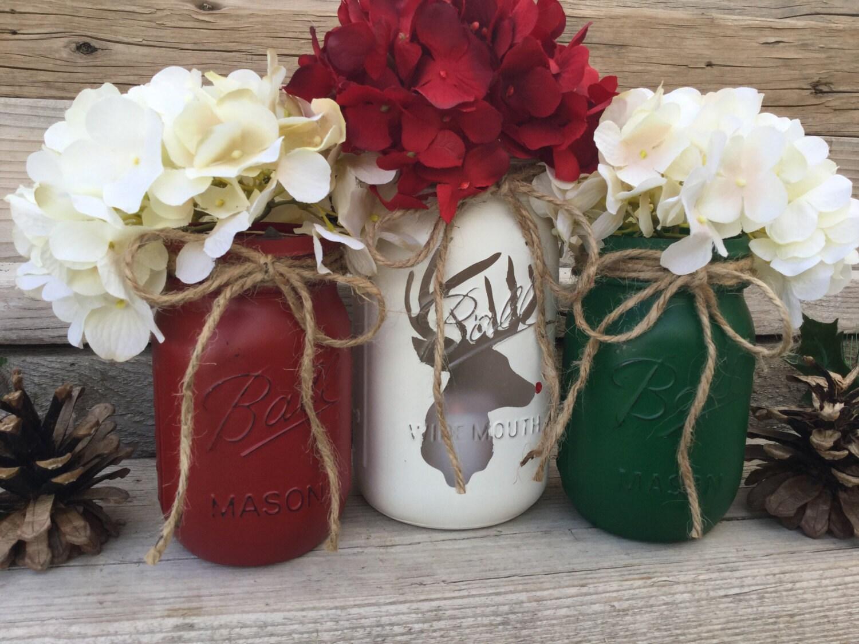 Mason Jar Christmas Decor Reindeer Christmas Decor Lodge