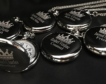Groomsmen gift - 5 Silver engraved pocket watches - 5 Personalized watches in gift box -Custom engraved -Wedding gift -Usher - Best Man gift