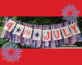 Fourth of July banner, 4th of July banner, Fourth of July decor, Patriotic Banner, July 4th decor, Patriotic decorations, 4th of july decor