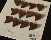 12 Heart Shaped Wood Buttons