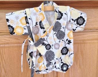 Baby Flower Kimono, Baby Flower Romper, Baby Flower Onesie, Baby Kimono Bodysuit, Baby Kimono, Baby Jinbei, 0-3 Mo, 3-6 Mo, 6-12 Mo