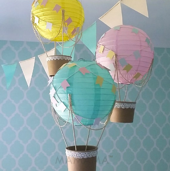 Whimsical hot air balloon decoration diy kit yellow mint for Balloon decoration kits