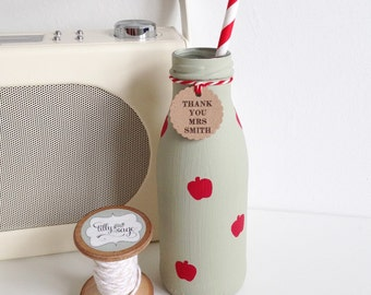 Personalised hand painted teachers mini milk bottle