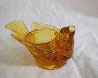 Vintage Degenhart Glass Bird w Berry Open Salt Cellar Persimmon, Pretty Honey Color - Signed