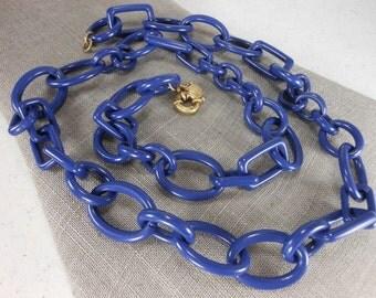 Necklace J CREW Blue Links Acrylic