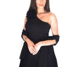 One Shoulder Skater Style Black Dress with Black Sash