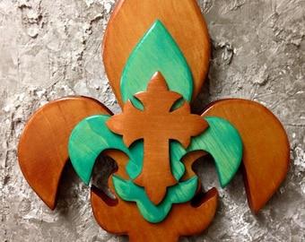 PCSTFDLC1 Handcrafted Pine Tri Layered Wooden Fleur De Lis /Cross